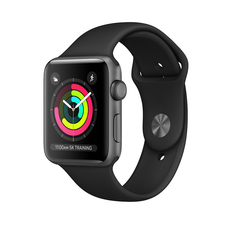 Brand new buy cheap Apple Watch SERIES 3 GPS + Cellular Space Gray Silver Aluminum Case with Black white Sport Band for sale